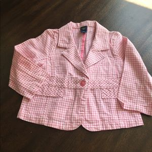 OshKosh B'gosh 4T Girls Pink Gingham Cotton Blazer
